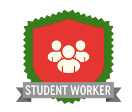 icon of 3 people with student worker written under the badge